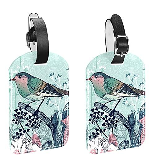 Borsa da viaggio e Bagaglio Etichetta Tag per gli Uomini Vintage Primavera Uccelli Floreale PU Materiale Bagagli Tag Borsa Etichette Accessori 2 Pezzi