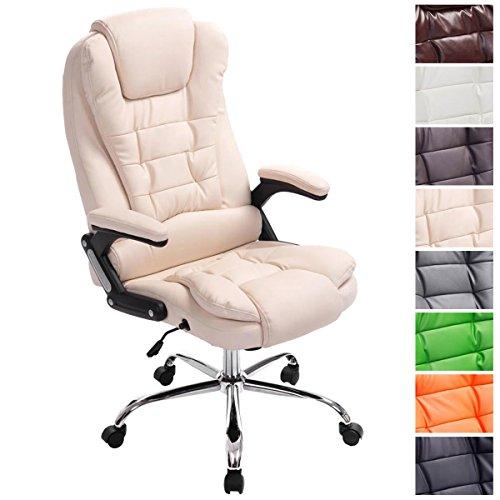 CLP XXL Chefsessel Thor, max. belastbar bis 150 kg, Bürostuhl mit Armlehnen, höhenverstellbar 49-59 cm, Drehstuhl mit dickem Polster, Creme