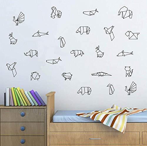 Pegatinas De Pared 60X54cm origami Animales Vinilo Tatuajes De Pared Dormitorio Tatuajes De Pared Niños Habitación Decoración Guardería Pegatinas Papel Pintado