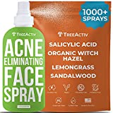 TreeActiv Acne Eliminating Face Spray | Salicylic Acid Facial Mist | Zit, Pimple, & Milia Remover | Witch Hazel Toner for Women, Men | Adult & Teen Hormonal & Cystic Acne Treatment | 1000+ Sprays