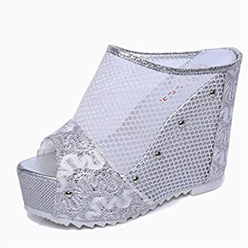 QQCR Super high Heel keil Slipper Damen Damen Damen Sommer mesh Spitze hohl Fisch Mund Mode einfache Trend Fan Kinder Silber Silber dicken Boden 11 cm hohe Ferse Hausschuhe  100% anbieten