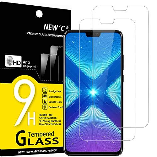 NEW'C 2 Stück, Schutzfolie Panzerglas für Honor 8X, Frei von Kratzern, 9H Festigkeit, HD Bildschirmschutzfolie, 0.33mm Ultra-klar, Ultrawiderstandsfähig