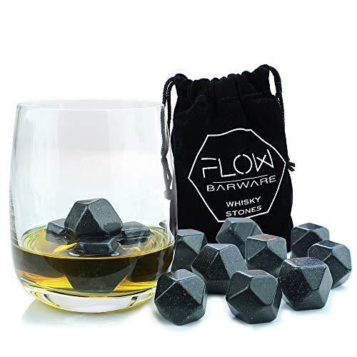 Flow Barware - Piedras de grnaito para enfriar whisky, reutilizables 9 x Polished Diamond Whisky Stones gris