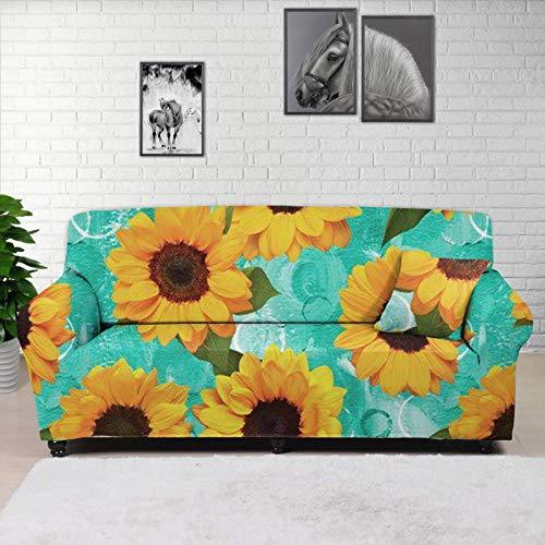 HUGS IDEA Funda para sofá de silla superelástica, diseño de girasoles, color cian y verde, estilo popular, elegante protector de muebles de poliéster y elastano, antideslizante, suave sofá de 1 plaza.
