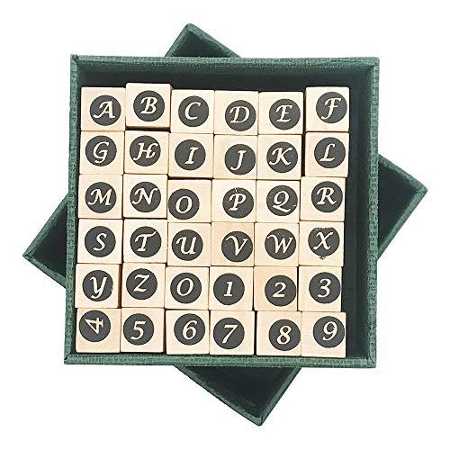 Enyan Dekorative Holzstempel, 36 Stück, Vintage-ABC-Alphabet-Buchstaben aus Holz, Gummi-Stempel mit Aufbewahrungsbox für Karten, Basteln, Planer, Scrapbooking, Bullet Journal Zahl und Buchstabe