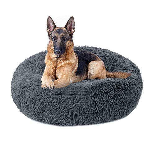 KongEU Deluxe Weich Hundebett Sofa Waschbar Rundes Donut Plüsch Hundekissen für große und extra große Hunde Katzen,Warmes Hundekörbchen,Wasserfeste Unterseite-120cm-Dunkelgrau