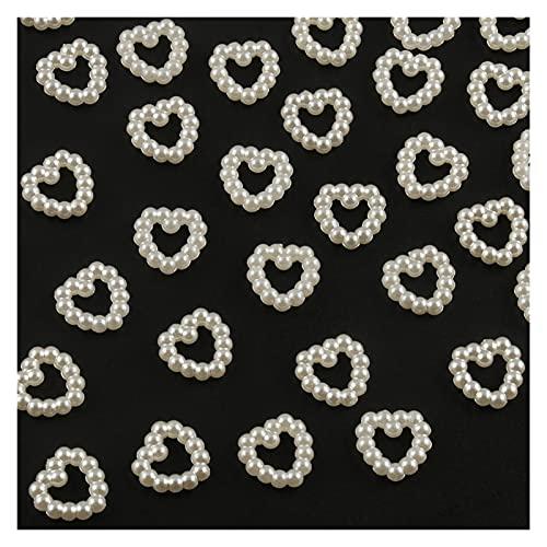 QZX1 100/200 unids 10 mm cuentas planas corazón de la estrella de la estrella de las cuentas artesanía de las perlas de imitación para el arte de la decoración de la decoración de la decoración de los