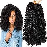 8 Bundles 12 Inches Marlybob Crochet Hair Kinky Curly Crochet Braids Synthetic Ombre Braiding Hair Extension (1B#)