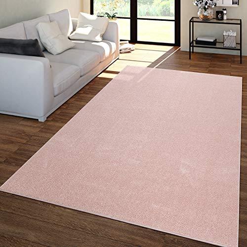 TT Home Tapis Salon Uni Poils Ras Tendance Et Doux, Sobre en Rose, Dimension:160x220 cm