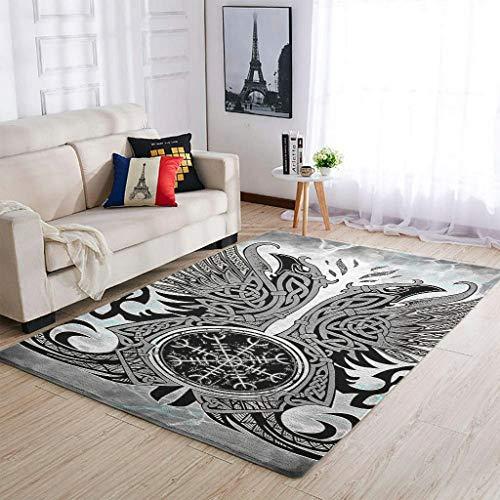 Knowikonwn Alfombra moderna de estilo vikingo, para interiores y salas de estar, para niños, niños, niños, niños, niños, hogar, blanco, 91 x 152 cm