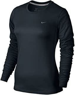 Women's Dri Fit Miler UV Long Sleeve Reflective Running Shirt Black Small