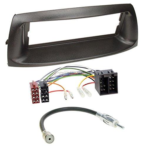 Carmedio FIAT Punto 99-07 1-DIN Autoradio Einbauset in original Plug&Play Qualität mit Antennenadapter Radioanschlusskabel Zubehör und Radioblende Einbaurahmen schwarz
