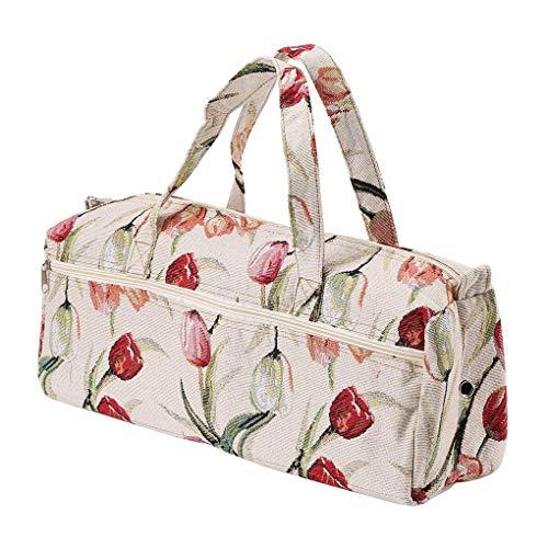 Chowcencen - Bolsa para Agujas de Tejer (tamaño Grande), Flor Roja, 44x14x17