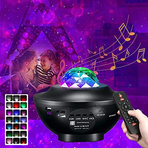 KEYCENT LED Sternenhimmel Projektor, Galaxy Light Wasserwellen Nachtlicht mit Bluetooth&Timer, 21 Beleuchtungsmodi Musikspieler mit Fernbedienung,Kinder Erwachsene Zimmer Dekoration Geschenk
