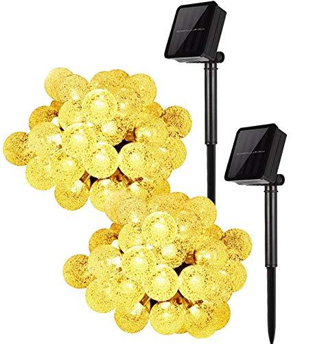 Solar Lights Garden, Wishlink 2 Pack of 23 ft / 7 m 50 LED Outdoor String Lights Multi-Coloured Crystal Ball Fairy Lights Waterproof Decorative Lighting for Garden, Yard, Christmas (Warm White)