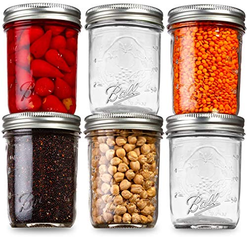 Ball Mason Jars Regular Mouth 8 oz Bundle with Non Slip Jar Opener brand BHL Jars- Set of 6 Mason Jars - Canning Glass Jars with Lids and Bands