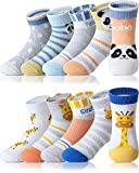 Adorel Jungen Socken Knöchelhoch Babysocken 10er-Pack (Dünnes Mesh-Netz) Giraffe und Panda 32-34 (Herstellergröße XL)