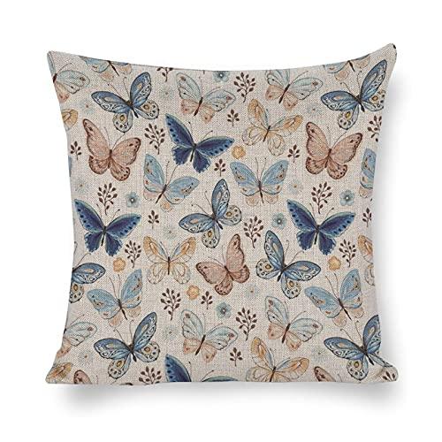 DKISEE - Federa decorativa per cuscino, motivo farfalle volanti blu, giallo e marrone, 45 x 45 cm, con cerniera invisibile, in cotone e lino, motivo floreale, on52 g1zbeze2