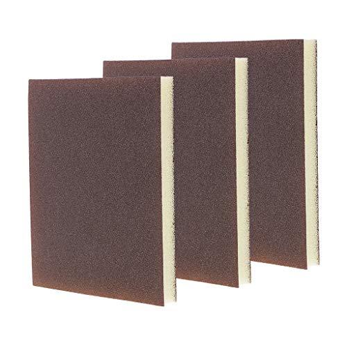 3 Pieces Polishing Sanding Sponge Block Pad Set, Foam Sanding Block Wet Dry, Bodywork,Sandpaper,Sponge Pads, Multi Purposeh - Rough/Medium/Fine/Extra Fine - Reddish Brown, Extra Fine 400-600 Grit