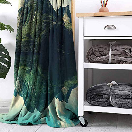FOEYESEE Throw Blanket View of Mountain with Sharp Peaks Covered by Short Trees Reflected to a Quiet Lake Picture Green Blue Ivory Bedroom Dorm Sofa Nursery Crate W60 xL51