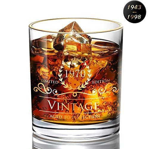DesBerry Geburtstagsgeschenk für Männer 50 - Whiskybecher für 1970 Geburtstagsge chenke - Whiskygläser für 50 chenke Jubiläumsgeschenke - Whiskygläser 300ml -Vatertagsgeschenk
