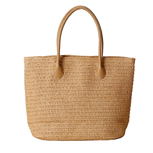 Women's Classic Straw Summer Beach Shoulder Bag Handbag Tote With PU Leather Straps Handmade Purse, Light Brown, Medium