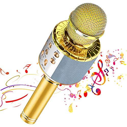 【Nuevo diseño 2020】 Micrófono de karaoke inalámbrico Bluetooth, Grabador de reproductor de altavoz de micrófono portátil, Máquina de altavoz de karaoke recargable(Gold)
