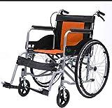 Dljyy Folding Sedia a rotelle Leggero Portatile, Addetto automotrici Anziani sedie a rotelle con Gamba di Sostegno Seatbelt Freno a Mano Estraibile Pedane 100Kg capacità GJD/Arancio