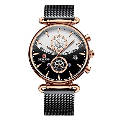 ZLSP Relojes Deportivos de Primera Marca para Hombres Reloj de Pulsera de Hombre de Acero Inoxidable de Lujo Azul de Lujo de Lujo Reloj de Reloj de Reloj de Reloj de Reloj (Color : Negro)