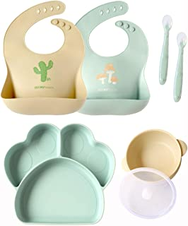 Baby or Toddler Feeding Set | Silicone Bib, Divided Plates, Suction Bowls & Spoons, Dishwasher-Safe, Easy-Wipe Cleaning (B...