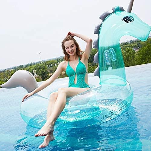2021 Nuevo Lentejuelas Transparente Verde Unicornio Monte Fila Inflaje In Insplacable Inflatable Sillón Sillón Juego de Agua Interactive Seaside Vacaciones WTZ012