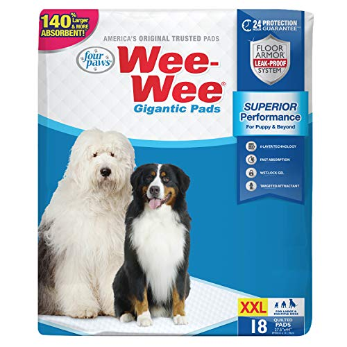Wee-Wee Puppy Training Pee Pads 18-Count 27.5' x 44' Gigantic Size Pads for Dogs