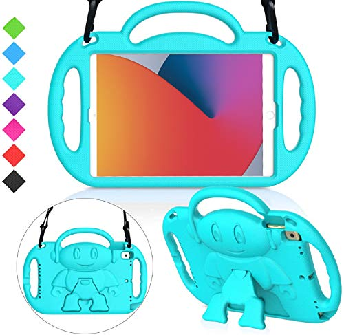 MENZO Kids Case for New iPad 10.2 8th / 7th Generation 2020 / 2019, Light Weight Shockproof Shoulder Strap Handle Stand Case for New iPad 10.2-Inch 2019 / 2020 Released (Latest Model) -Turquoise