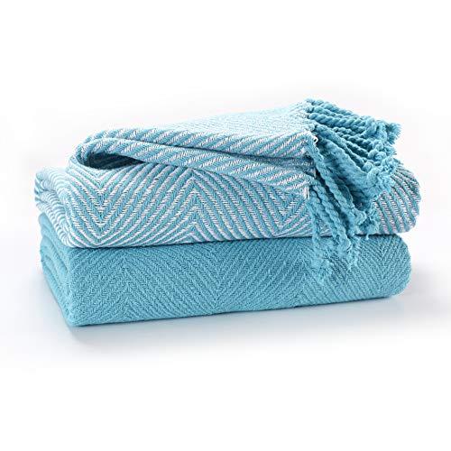 EHC Luxus Packung mit 2 Chevron Cotton Single Sofa Überwurfdecke, 125x 150 cm - Blaugrün