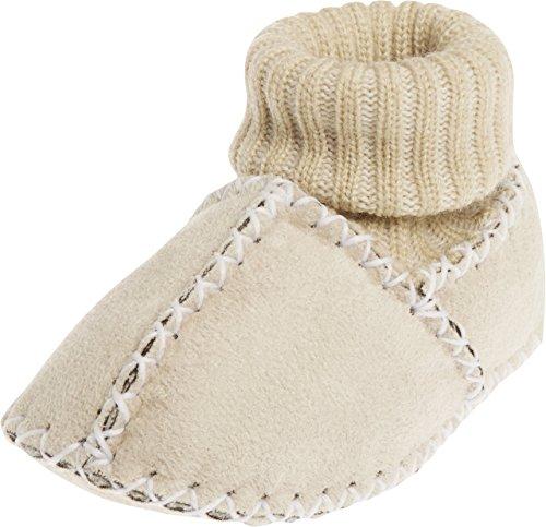 Playshoes Unisex Baby-Hausschuhe mit Strickbund,  Krabbelschuhe in Lammfell-Optik, Beige (natur), 16/17 EU