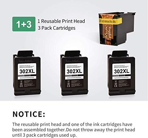 BunToner HP 302XL - Cartuchos de tinta reciclada para HP 302XL HP 302 para HP Officejet 3831 3830 3833 4650 Deskjet 3635 3633 3634 Envy 4520 4510 4512 4521 (1+2 negro)
