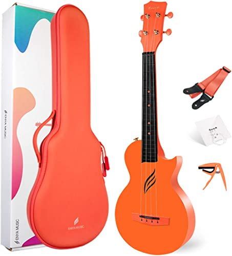 Enya Concert Ukulele Nova U 23'' Carbon Fiber Travel Ukulele with Beginner Kit includes online lessons, case, strap, ...