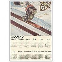 Qqwer アメリカのヴィンテージスキーカナダアラスカオーストラリアフランスアルプススイスポスタースキーコーティング2021カレンダーポスター壁-50X70Cmx1Pcs-フレームなし