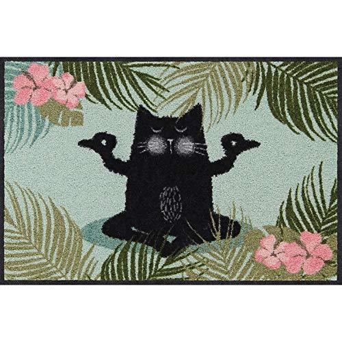 Salonloewe Yogakatze Fußmatte waschbar 050 x 075 cm Fußabtreter, Schmutzfangmatte
