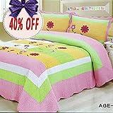 Brandream Girls Colorful Patchwork Quilt Set 3-Piece Light Comforter Set Full Queen Size