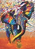 DIY 5D Happy Colorful Elephant Full Drill Rhinestone Diamond Painting Kits for Kids & Adults, Crystal Embroidery Diamond Painting by Number Kits Art Craft Home Wall Decor, 13.8'' 17.7''