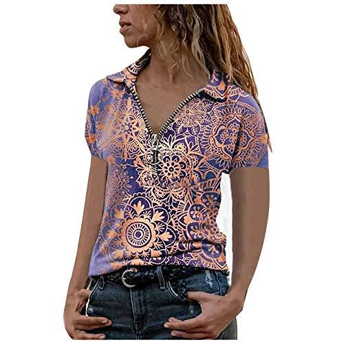 XOXSION Camiseta de verano para mujer, parte superior suelta, cuello en V, camisa de metal, cremallera impresa, blusa de manga corta, túnica morado M