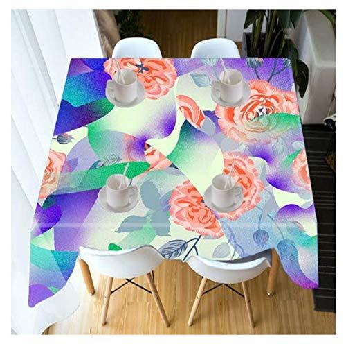 DitiaoDeken Tafelkleed Aangepaste Waterdichte Doek Dikke Rechthoekige 3D Pastorale Stijl Rose Bloem Bruiloft Café Eettafel Picknick Tafelkleed 145x250cm A