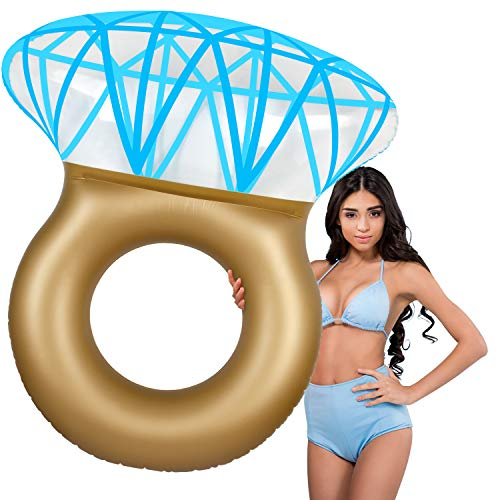 CHAREADA Diamond Ring Inflatable Pool Float, 61 inches Inflatable Rafts Pool Tube Float Swimming Pool Float Tube, Party Pool Toys for Boys Girls Adults Kids with Fast Valve