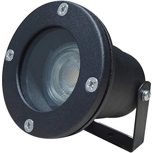 LED Boden Bodenleuchte Sophie 1 x 3W MCOB Aufbaustrahler 230V IP68 Farbe Schwarz inkl. Erdspieß 4000K Neutralweiß 250lm