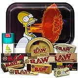 Bandeja para liar Los Simpsons 27,5cm x 17,5cm + Cenicero RAW + Bote Antiolor...