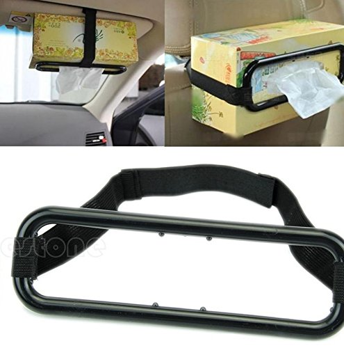 ODETOJOY Auto Accessories Car Sun Visor Tissue Box Holder Paper Napkin Seat Back Bracket Portable Black in Car Mount Organizer