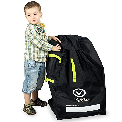 V VOLKGO Durable Car Seat Travel Bag with E-Book - Ideal Gate Check Bag for Air Travel & Saving Money - for Safe & Secure Car Seat - Fits Car Seats, Infant Carriers & Booster
