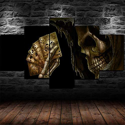 Decoracion Salon Modernos 5 Piezas Lienzo Grandes murales Pared hogar Pasillo Decor Arte Pared Cuadro Tarjetas de póquer de la mano del hombre muerto Skull Fotos HD Impresión Carteles Innovador Regalo