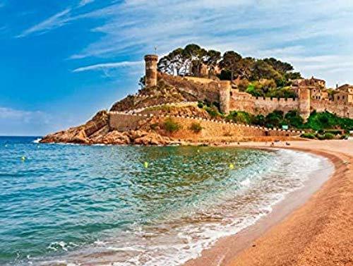 DFGJ Rompecabezas de Paisaje Marino de la bahía de Tossa de Mar en Girona, Cataluña, España. Castillo Medieval con Hermosa Playa de Arena y Agua Azul Clara 5000 Piezas (181 * 105 cm)